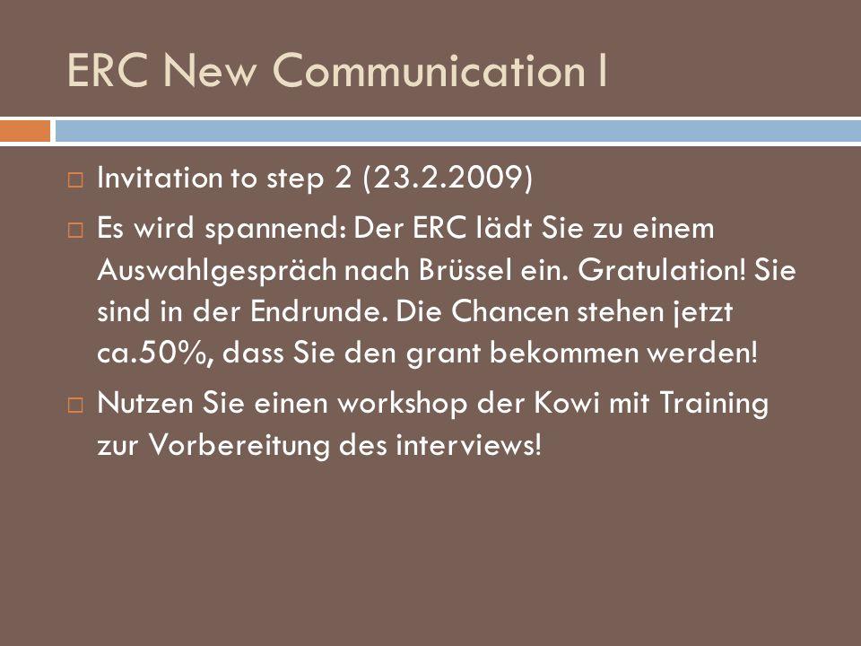 ERC New Communication I Invitation to step 2 (23.2.2009) Es wird spannend: Der ERC lädt Sie zu einem Auswahlgespräch nach Brüssel ein. Gratulation! Si