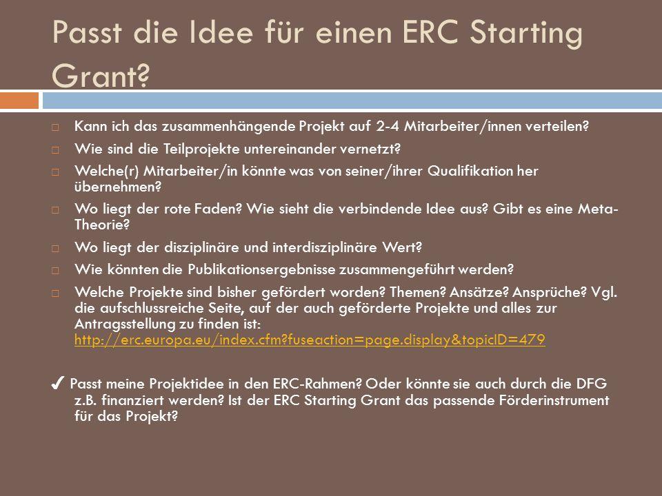 Passt die Idee für einen ERC Starting Grant? Kann ich das zusammenhängende Projekt auf 2-4 Mitarbeiter/innen verteilen? Wie sind die Teilprojekte unte