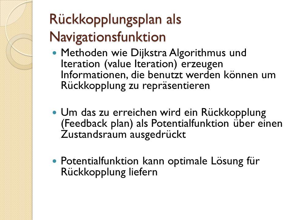 Rückkopplungsplan als Navigationsfunktion Methoden wie Dijkstra Algorithmus und Iteration (value Iteration) erzeugen Informationen, die benutzt werden