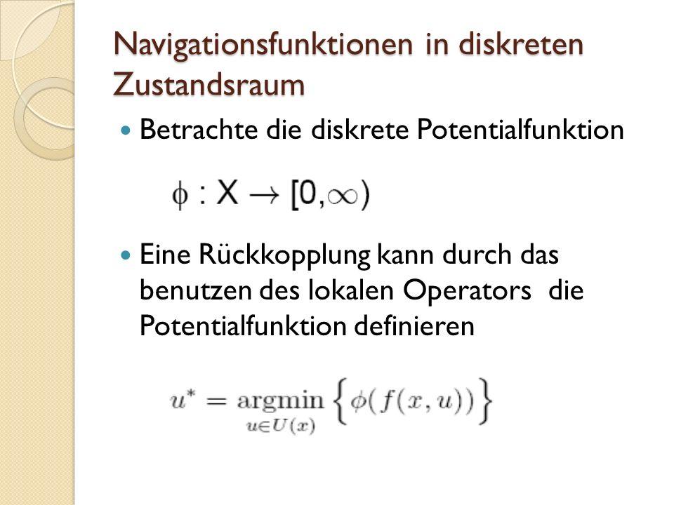Navigationsfunktionen in diskreten Zustandsraum Betrachte die diskrete Potentialfunktion Eine Rückkopplung kann durch das benutzen des lokalen Operato