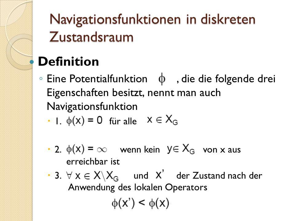 Navigationsfunktionen in diskreten Zustandsraum Definition Eine Potentialfunktion, die die folgende drei Eigenschaften besitzt, nennt man auch Navigat