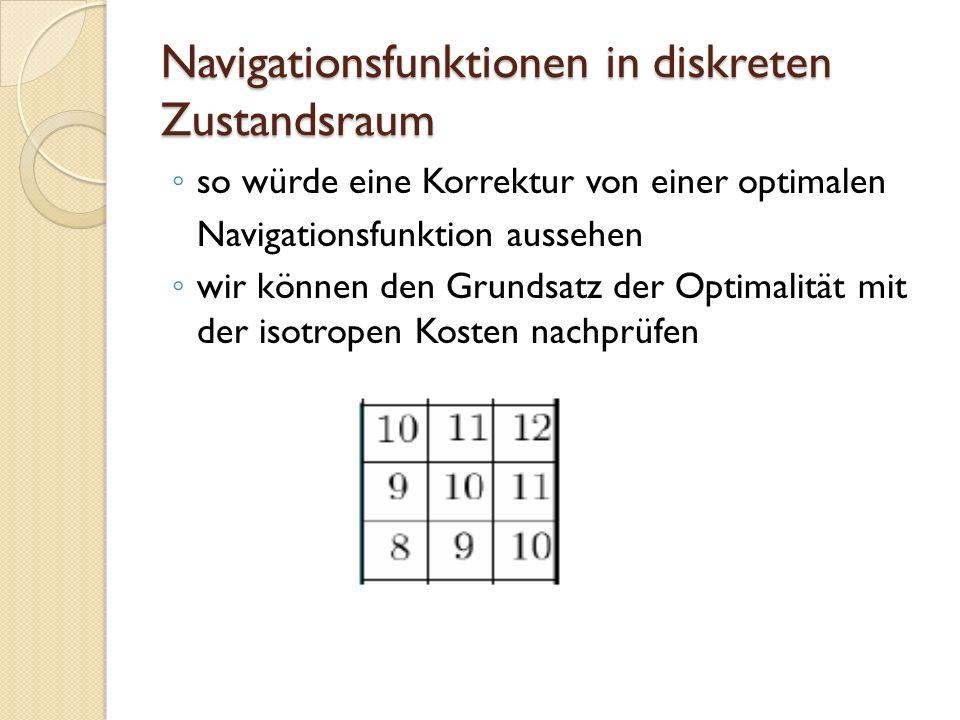 Navigationsfunktionen in diskreten Zustandsraum so würde eine Korrektur von einer optimalen Navigationsfunktion aussehen wir können den Grundsatz der