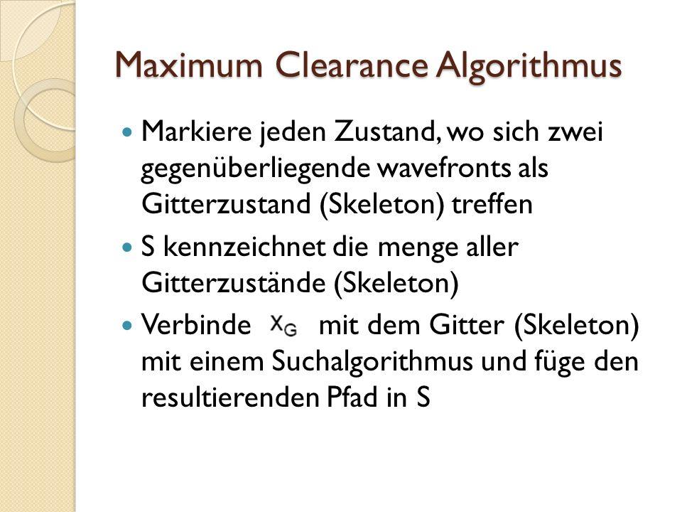 Maximum Clearance Algorithmus Markiere jeden Zustand, wo sich zwei gegenüberliegende wavefronts als Gitterzustand (Skeleton) treffen S kennzeichnet di