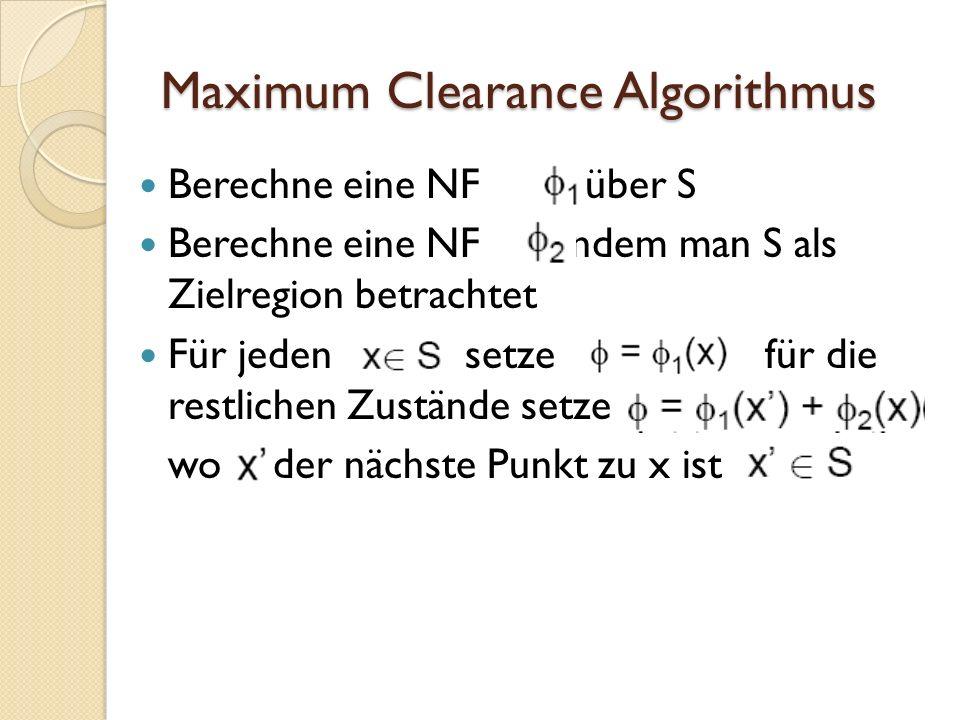 Maximum Clearance Algorithmus Berechne eine NF über S Berechne eine NF indem man S als Zielregion betrachtet Für jeden setze für die restlichen Zustän