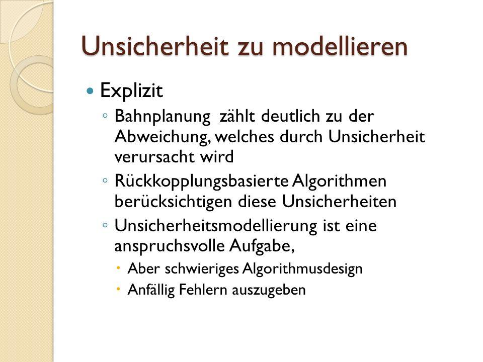 Unsicherheit zu modellieren Explizit Bahnplanung zählt deutlich zu der Abweichung, welches durch Unsicherheit verursacht wird Rückkopplungsbasierte Al