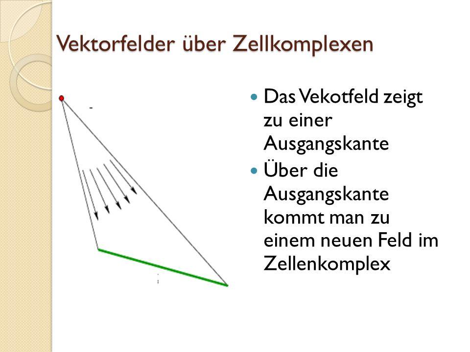 Vektorfelder über Zellkomplexen Das Vekotfeld zeigt zu einer Ausgangskante Über die Ausgangskante kommt man zu einem neuen Feld im Zellenkomplex