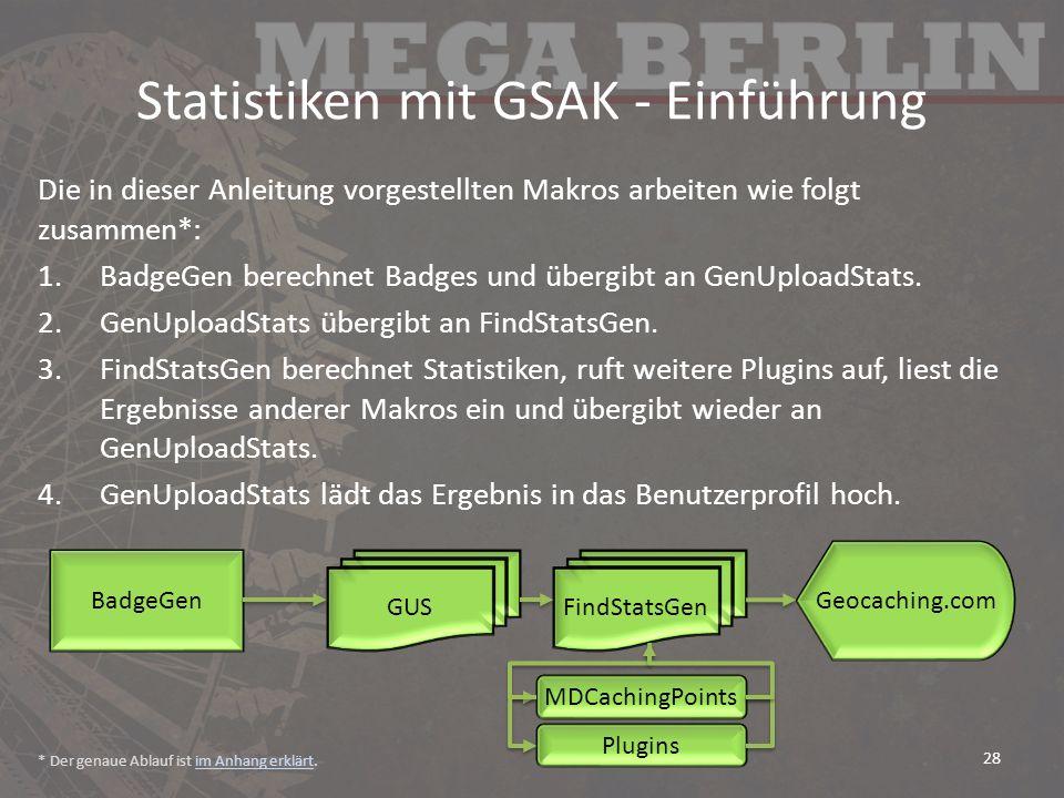 Statistiken mit GSAK - Einführung Die in dieser Anleitung vorgestellten Makros arbeiten wie folgt zusammen*: 1.BadgeGen berechnet Badges und übergibt