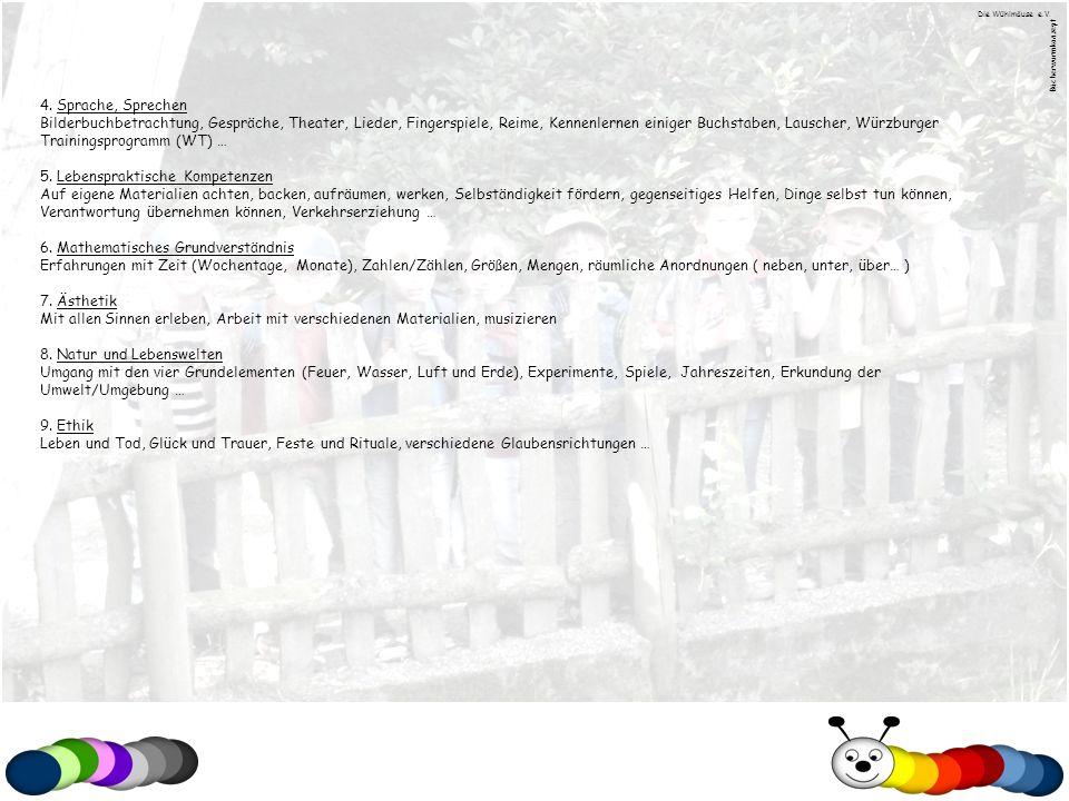 4. Sprache, Sprechen Bilderbuchbetrachtung, Gespräche, Theater, Lieder, Fingerspiele, Reime, Kennenlernen einiger Buchstaben, Lauscher, Würzburger Tra