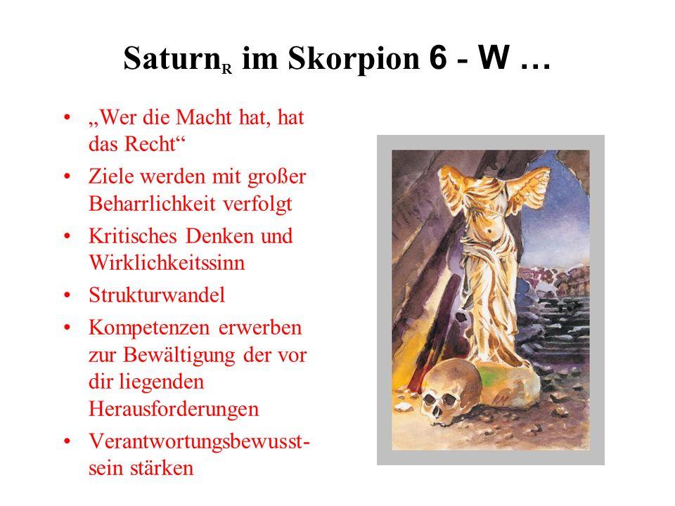 Saturn R im Skorpion 6 - W … Wer die Macht hat, hat das Recht Ziele werden mit großer Beharrlichkeit verfolgt Kritisches Denken und Wirklichkeitssinn Strukturwandel Kompetenzen erwerben zur Bewältigung der vor dir liegenden Herausforderungen Verantwortungsbewusst- sein stärken