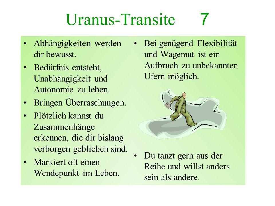 Uranus-Transite 7 Abhängigkeiten werden dir bewusst. Bedürfnis entsteht, Unabhängigkeit und Autonomie zu leben. Bringen Überraschungen. Plötzlich kann