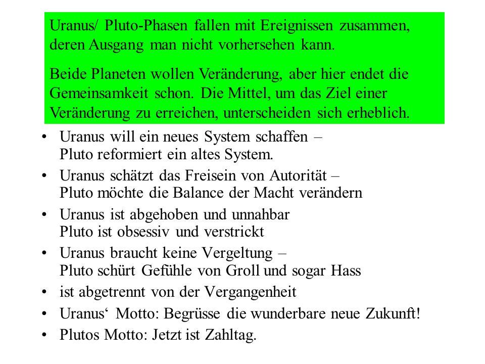 Uranus will ein neues System schaffen – Pluto reformiert ein altes System. Uranus schätzt das Freisein von Autorität – Pluto möchte die Balance der Ma