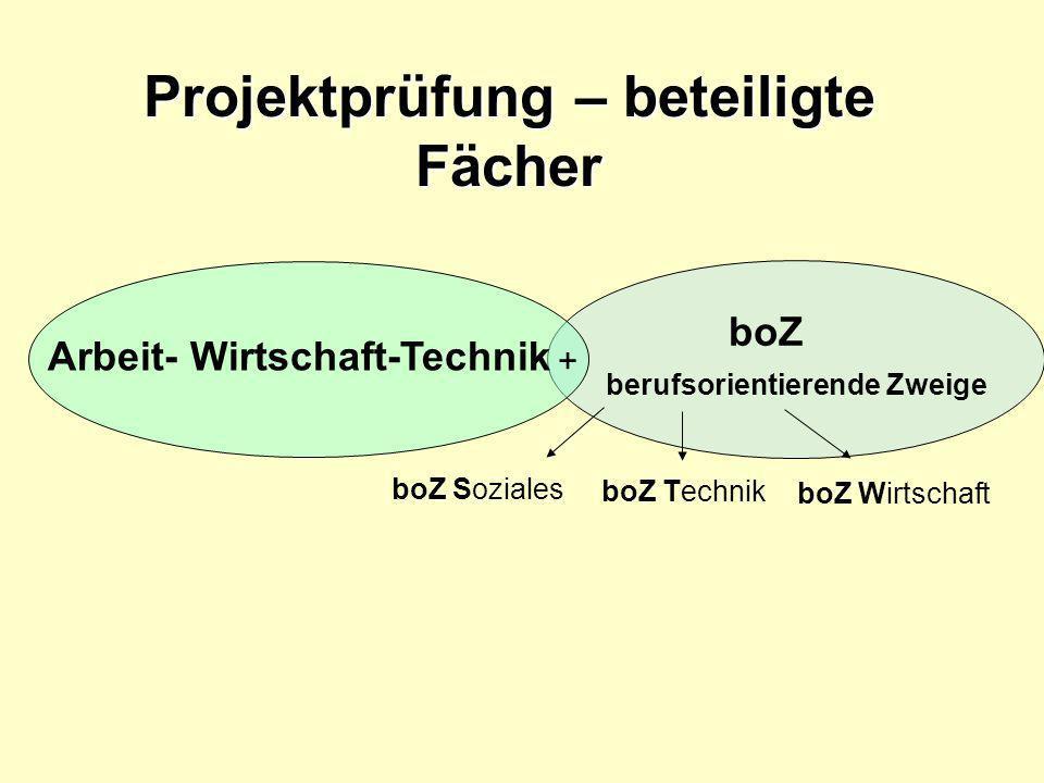 Arbeit- Wirtschaft-Technik boZ berufsorientierende Zweige + boZ Soziales boZ Technik boZ Wirtschaft Projektprüfung – beteiligte Fächer