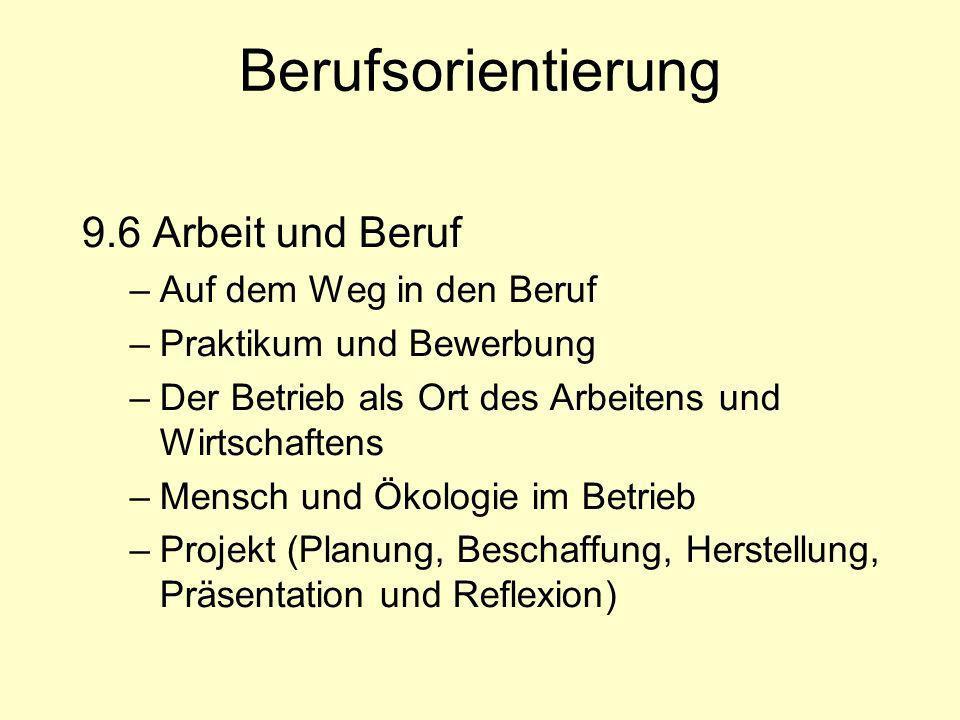 Berufsorientierung 9.6 Arbeit und Beruf –Auf dem Weg in den Beruf –Praktikum und Bewerbung –Der Betrieb als Ort des Arbeitens und Wirtschaftens –Mensc