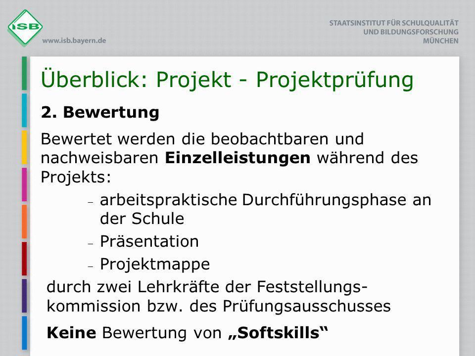 Überblick: Projekt - Projektprüfung 2. Bewertung Bewertet werden die beobachtbaren und nachweisbaren Einzelleistungen während des Projekts: arbeitspra