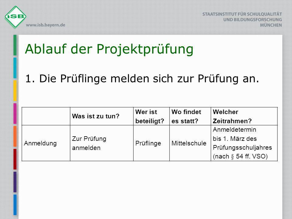 Ablauf der Projektprüfung 2.