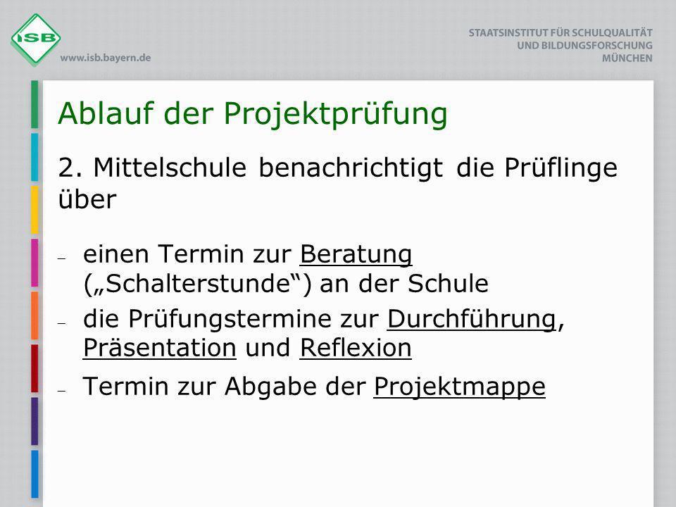 Ablauf der Projektprüfung 2. Mittelschule benachrichtigt die Prüflinge über einen Termin zur Beratung (Schalterstunde) an der Schule die Prüfungstermi