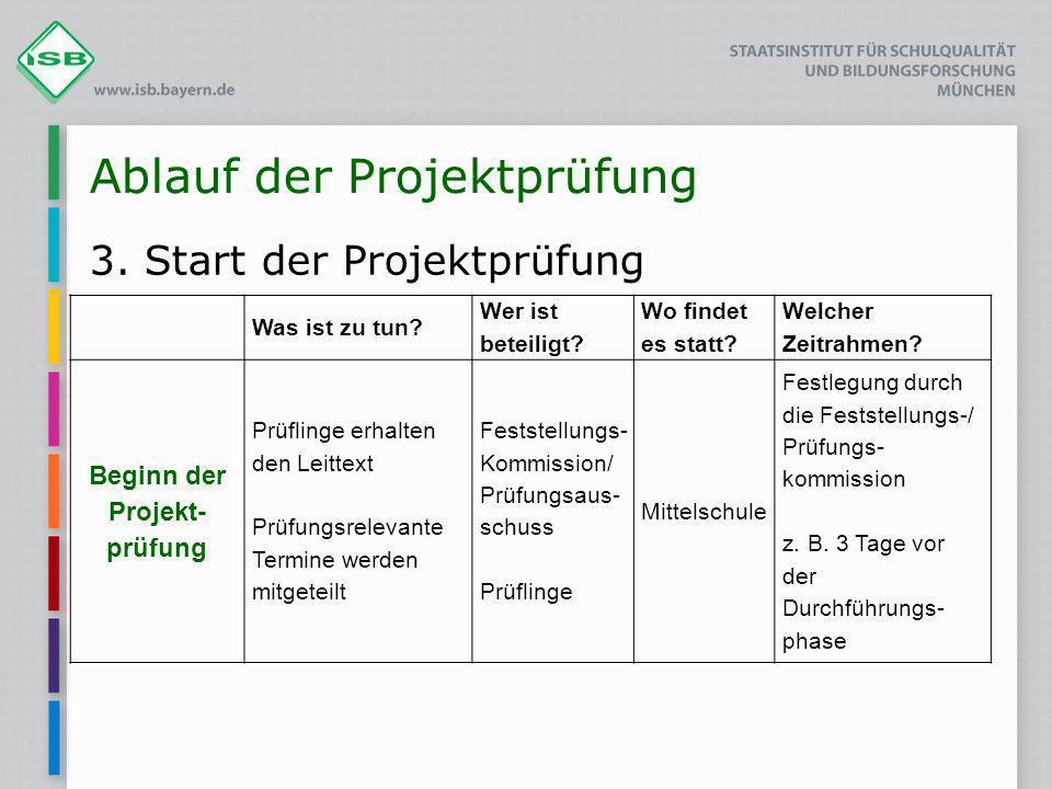 Ablauf der Projektprüfung 3. Start der Projektprüfung Was ist zu tun? Wer ist beteiligt? Wo findet es statt? Welcher Zeitrahmen? Beginn der Projekt- p