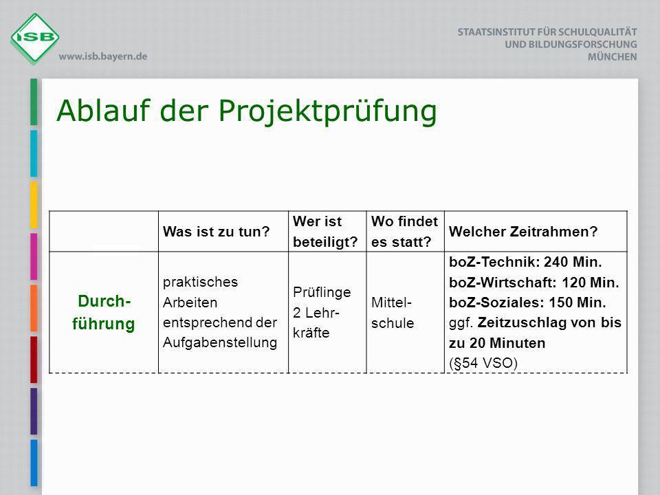 Ablauf der Projektprüfung Was ist zu tun? Wer ist beteiligt? Wo findet es statt? Welcher Zeitrahmen? Durch- führung praktisches Arbeiten entsprechend