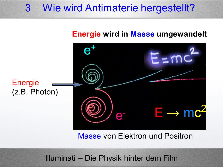 Illuminati – Die Physik hinter dem Film Energie (z.B. Photon) Masse von Elektron und Positron e-e- e+e+ E mc 2 3 Wie wird Antimaterie hergestellt? Ene
