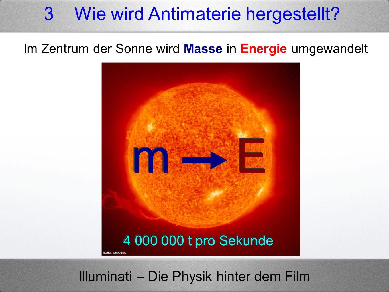 Illuminati – Die Physik hinter dem Film m E 4 000 000 t pro Sekunde Im Zentrum der Sonne wird Masse in Energie umgewandelt 3 Wie wird Antimaterie herg