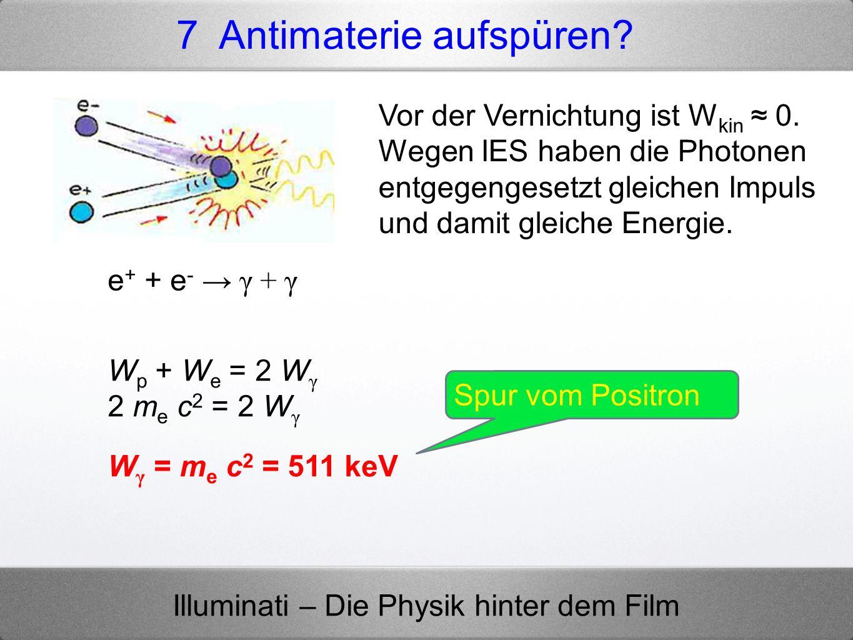 Illuminati – Die Physik hinter dem Film 7 Antimaterie aufspüren? Spur vom Positron e + + e - γ + γ Vor der Vernichtung ist W kin 0. Wegen IES haben di