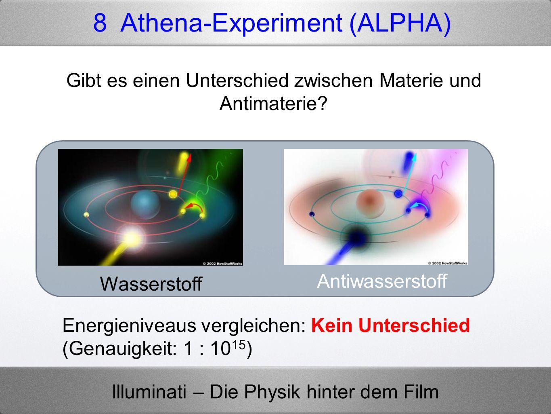Illuminati – Die Physik hinter dem Film 8 Athena-Experiment (ALPHA) Gibt es einen Unterschied zwischen Materie und Antimaterie? Wasserstoff Antiwasser