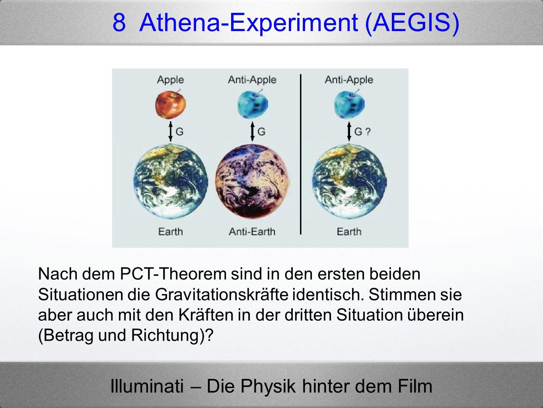 Illuminati – Die Physik hinter dem Film 8 Athena-Experiment (AEGIS) Nach dem PCT-Theorem sind in den ersten beiden Situationen die Gravitationskräfte