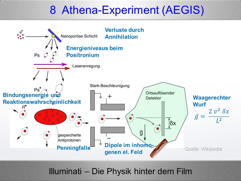 Illuminati – Die Physik hinter dem Film 8 Athena-Experiment (AEGIS) Quelle: Wikipedia Waagerechter Wurf Dipole im inhomo- genen el. Feld Penningfalle
