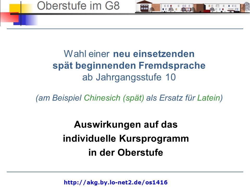 http://akg.by.lo-net2.de/os1416 Wahl einer neu einsetzenden spät beginnenden Fremdsprache ab Jahrgangsstufe 10 (am Beispiel Chinesich (spät) als Ersat
