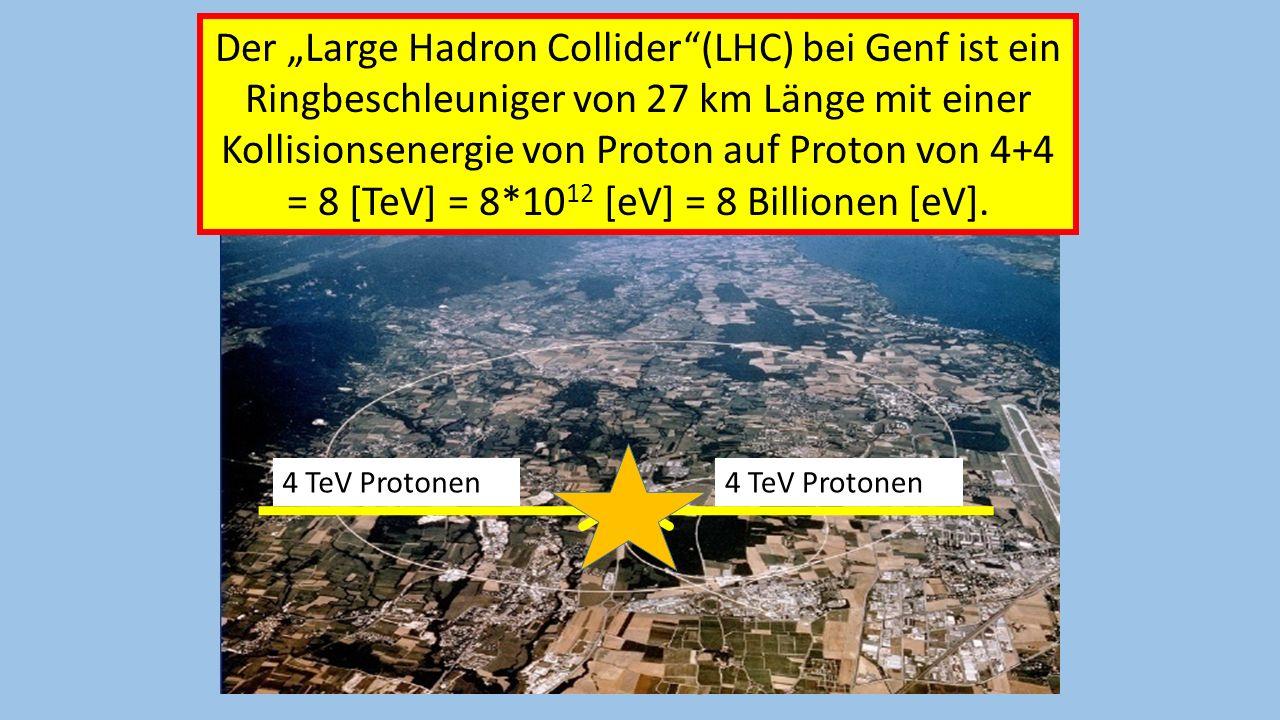 Amand Fassler, Tübingen Der Large Hadron Collider(LHC) bei Genf ist ein Ringbeschleuniger von 27 km Länge mit einer Kollisionsenergie von Proton auf P