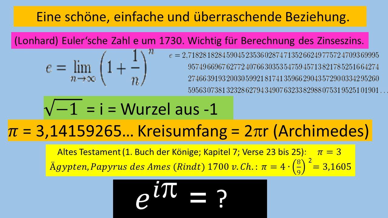 Eine schöne, einfache und überraschende Beziehung. (Lonhard) Eulersche Zahl e um 1730. Wichtig für Berechnung des Zinseszins. 2 ?