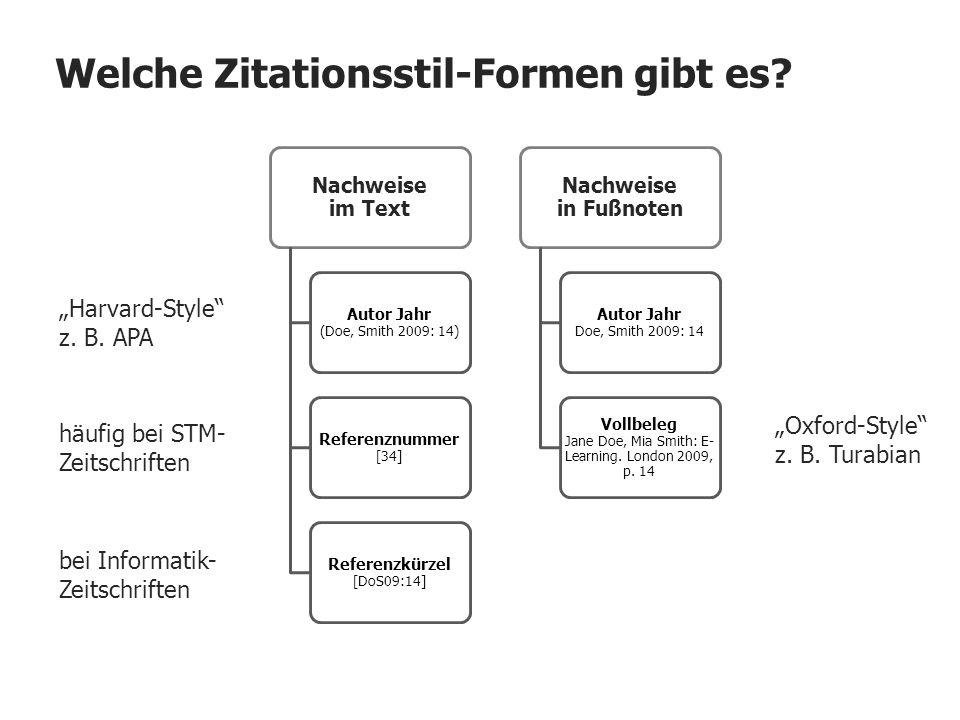 Welche Zitationsstil-Formen gibt es? Nachweise im Text Autor Jahr (Doe, Smith 2009: 14) Referenznummer [34] Referenzkürzel [DoS09:14] Nachweise in Fuß