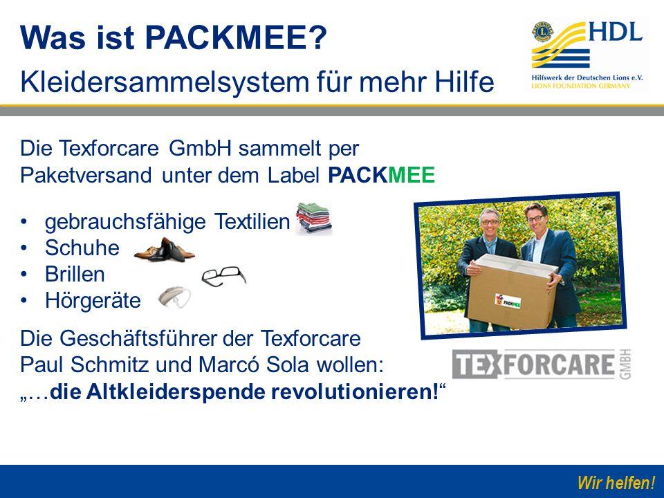 Wir helfen! Die Texforcare GmbH sammelt per Paketversand unter dem Label PACKMEE gebrauchsfähige Textilien Schuhe Brillen Hörgeräte Die Geschäftsführe