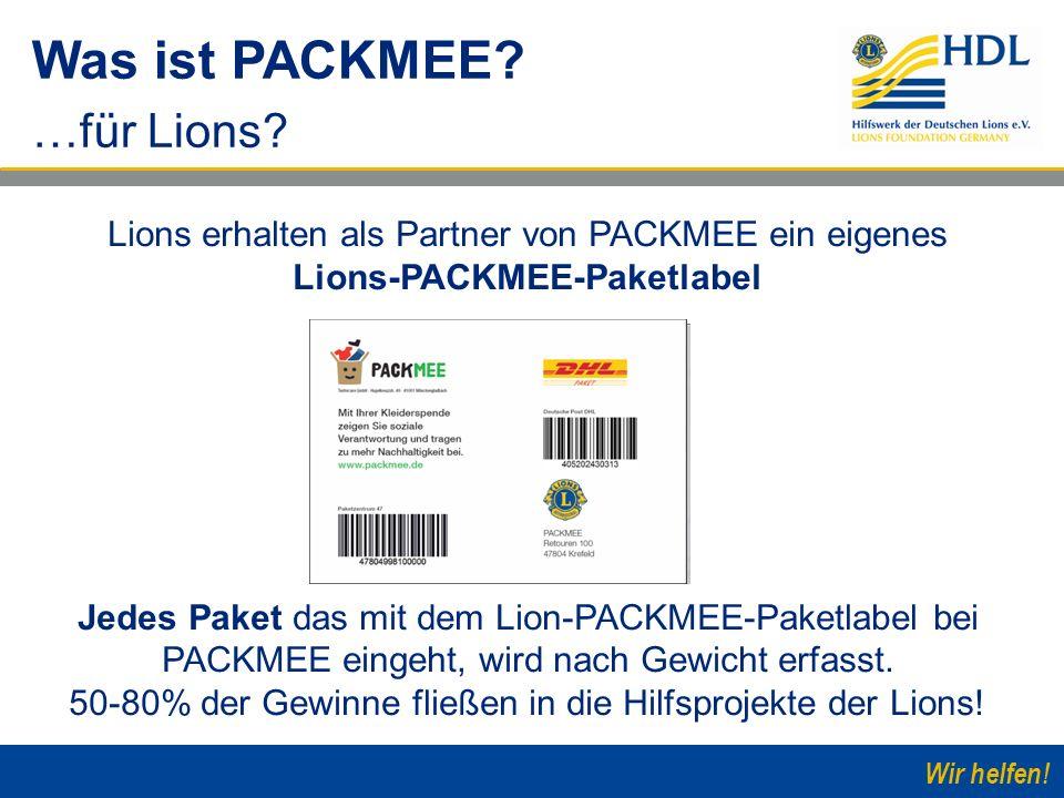 Wir helfen! Lions erhalten als Partner von PACKMEE ein eigenes Lions-PACKMEE-Paketlabel Jedes Paket das mit dem Lion-PACKMEE-Paketlabel bei PACKMEE ei