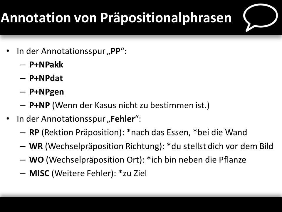 Annotation von Präpositionalphrasen In der Annotationsspur PP: – P+NPakk – P+NPdat – P+NPgen – P+NP (Wenn der Kasus nicht zu bestimmen ist.) In der An