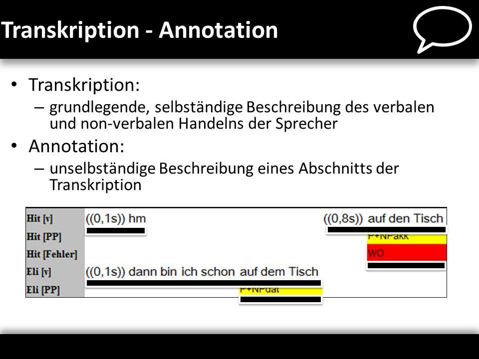 Das Annotationswerkzeug Für alle Spurkategorien: – Annotationskategorien Namen ggf.