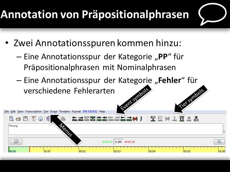 als letzte Spur der Transkription: Tier > Add tier… oberhalb der markierten Spur: Tier > Insert tier… Reihenfolge ändern: Tier > Change tier order… Annotationsspur hinzufügen
