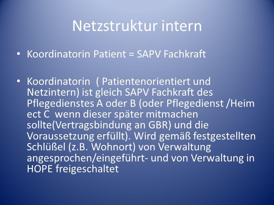 Netzstruktur intern Koordinatorin Patient = SAPV Fachkraft Koordinatorin ( Patientenorientiert und Netzintern) ist gleich SAPV Fachkraft des Pflegedie