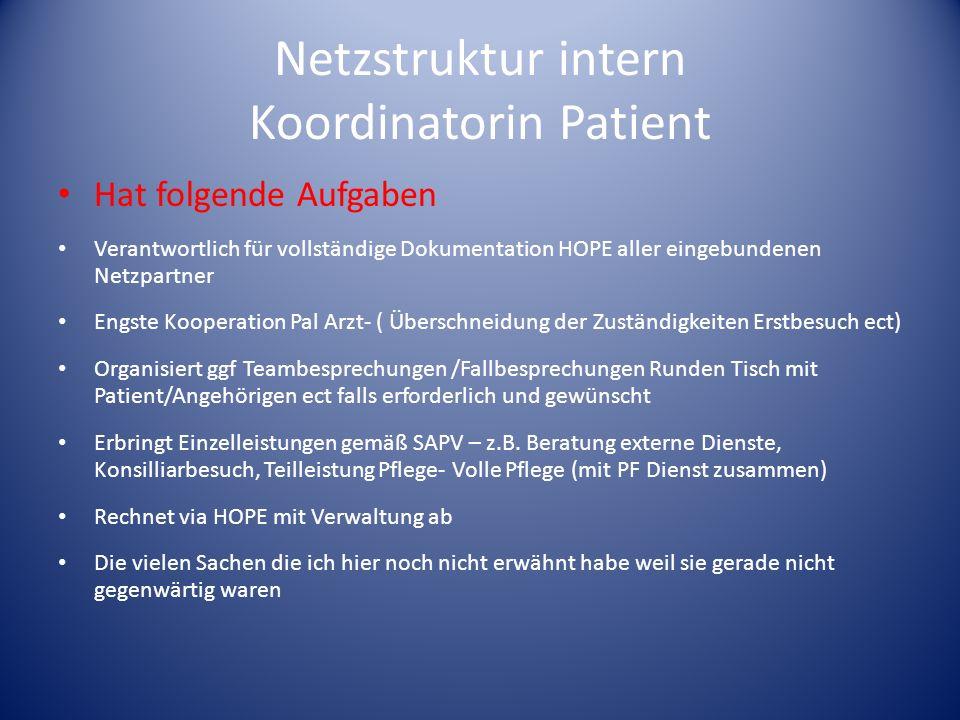 Netzstruktur intern Koordinatorin Patient Hat folgende Aufgaben Verantwortlich für vollständige Dokumentation HOPE aller eingebundenen Netzpartner Eng
