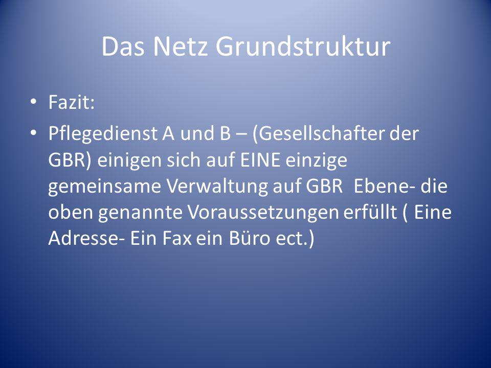 Das Netz Grundstruktur Fazit: Pflegedienst A und B – (Gesellschafter der GBR) einigen sich auf EINE einzige gemeinsame Verwaltung auf GBR Ebene- die o