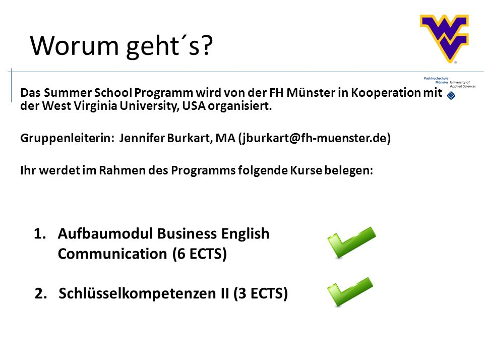 1.Aufbaumodul Business English Communication (6 ECTS) Worum geht´s.