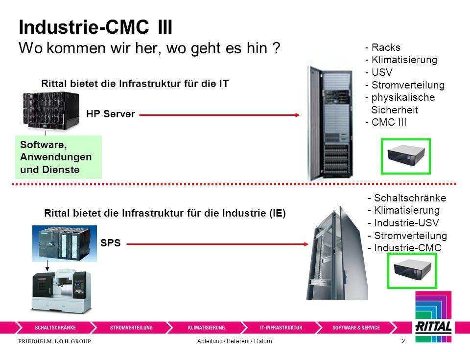 Abteilung / Referent / Datum 3 Manufacturing Execution System (MES) Automatisierungspyramide CMC III OPC / SNMP Schaltschranküberwachung mit dem CMC III integriert in der Automatisierungspyramide I/O IT IE Rittal-Infrastrukturlösung für die Industrie Industrielle Anwendung