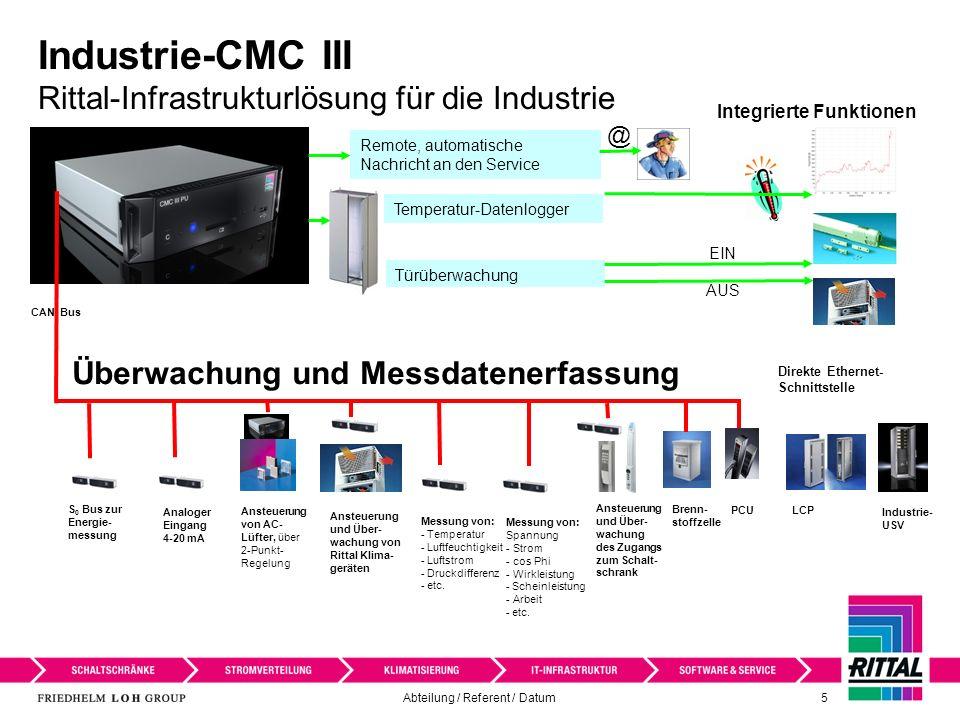 Abteilung / Referent / Datum 6 Industrie-CMC III Erweiterter Einsatzbereich Das Industrie-CMC III ist für Steuerungsschränke und Schaltschränke konzipiert.
