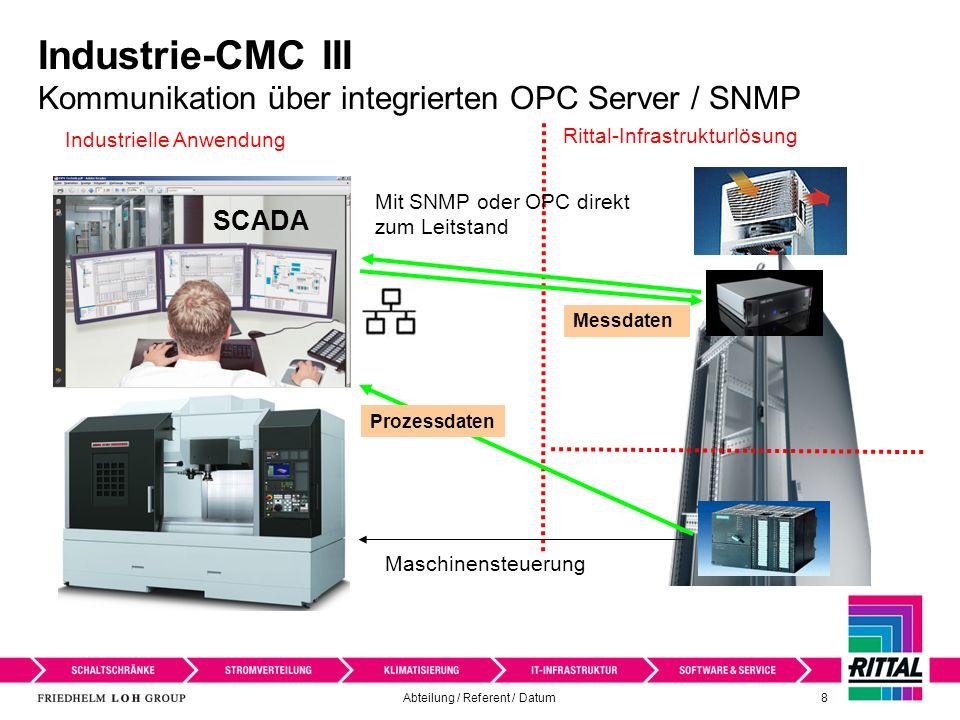 Abteilung / Referent / Datum 9 Industrie-CMC III RiZone / Messdatenerfassung mit Datenbanken SCADA Datenbank für - Datenbank MS-SQL - Datenbank Oracle Prozessdaten RiZone Rittal Infrastruktur Lösung Industrielle Anwendung CMC III Messdaten:Prozess- datenbank