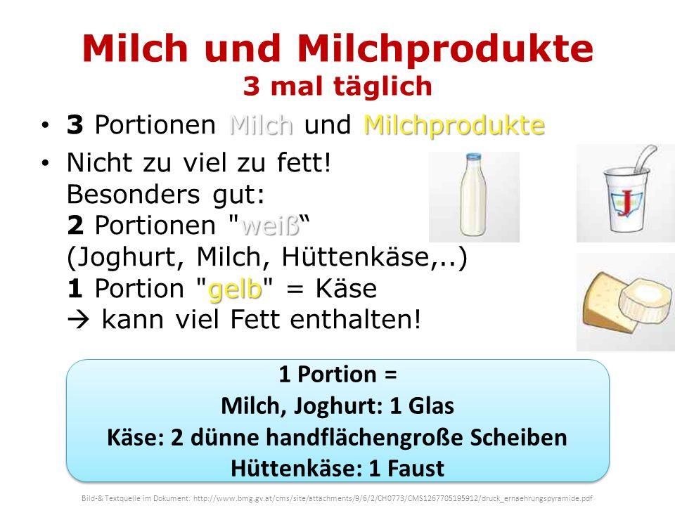 Milch und Milchprodukte 3 mal täglich MilchMilchprodukte 3 Portionen Milch und Milchprodukte weiß gelb Nicht zu viel zu fett! Besonders gut: 2 Portion