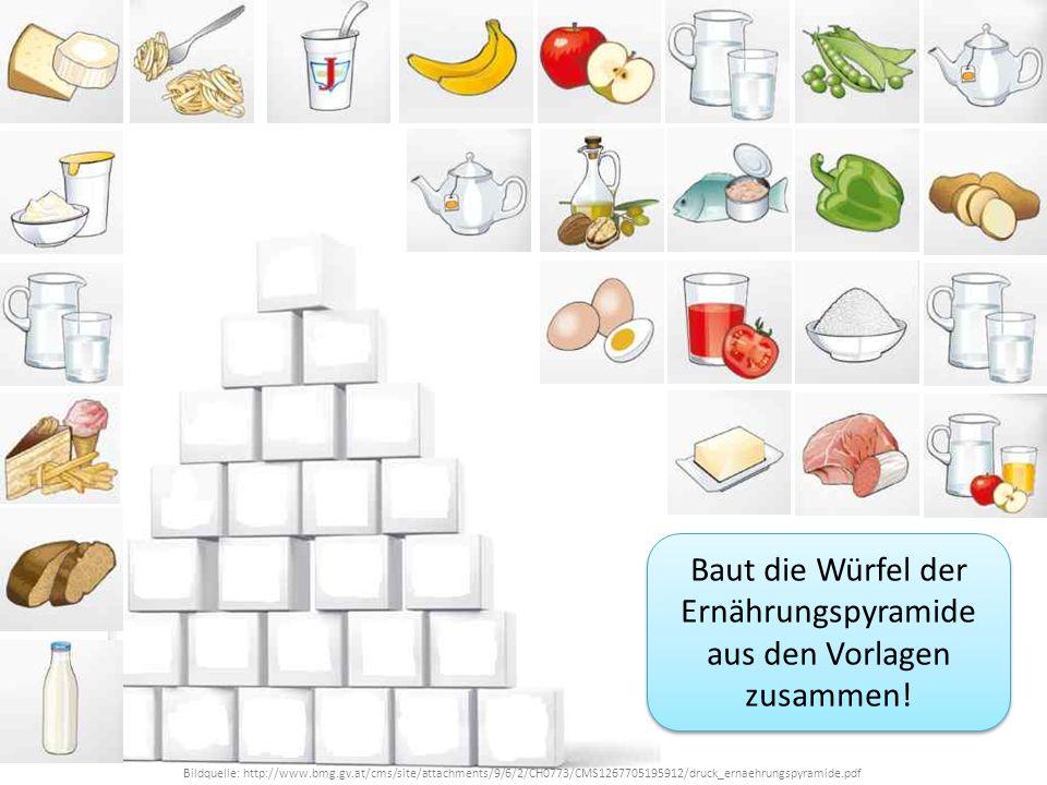 Bildquelle: http://www.bmg.gv.at/cms/site/attachments/9/6/2/CH0773/CMS1267705195912/druck_ernaehrungspyramide.pdf Baut die Würfel der Ernährungspyrami