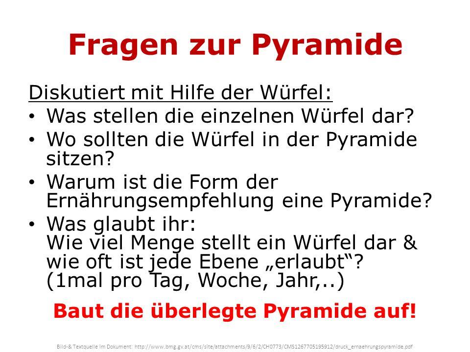 Fragen zur Pyramide Diskutiert mit Hilfe der Würfel: Was stellen die einzelnen Würfel dar? Wo sollten die Würfel in der Pyramide sitzen? Warum ist die