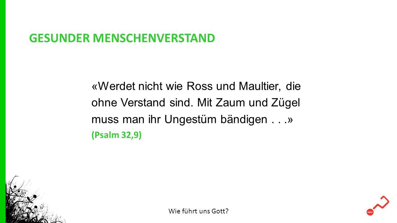GESUNDER MENSCHENVERSTAND «Werdet nicht wie Ross und Maultier, die ohne Verstand sind. Mit Zaum und Zügel muss man ihr Ungestüm bändigen...» (Psalm 32