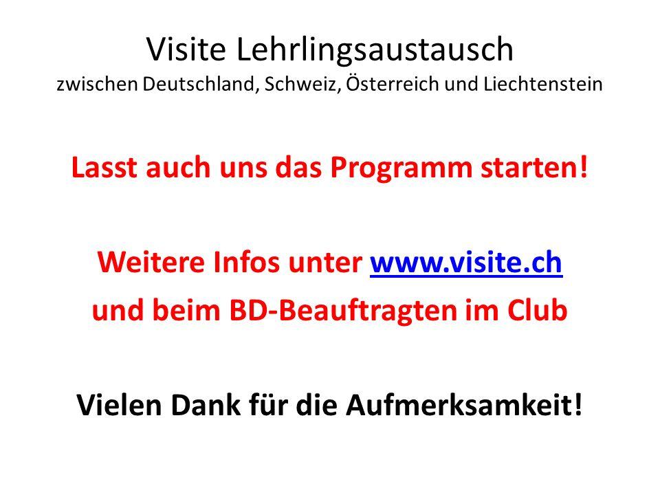 Visite Lehrlingsaustausch zwischen Deutschland, Schweiz, Österreich und Liechtenstein Lasst auch uns das Programm starten! Weitere Infos unter www.vis