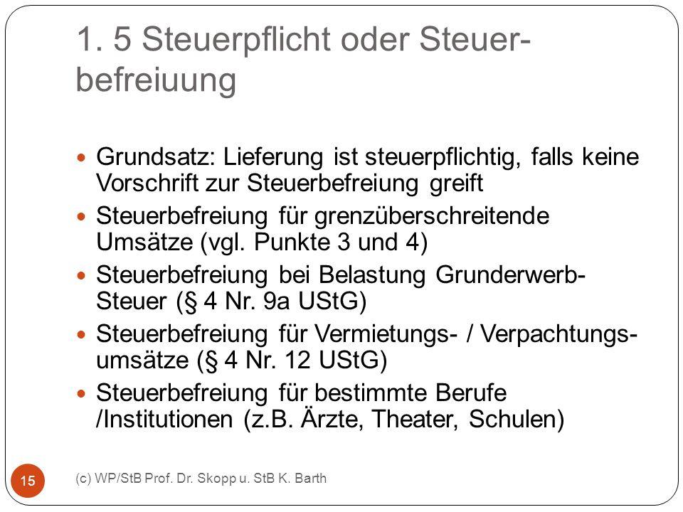 1. 5 Steuerpflicht oder Steuer- befreiuung (c) WP/StB Prof. Dr. Skopp u. StB K. Barth 15 Grundsatz: Lieferung ist steuerpflichtig, falls keine Vorschr